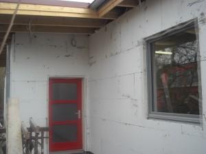Die Fassadenarbeiten von der Seite !